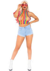festival style girl wearing a rainbow net halter crop top