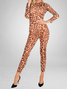 full body leopard print bodysuit stocking with long sleeves
