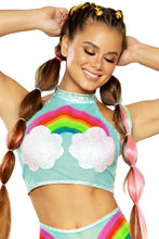 Load image into Gallery viewer, rainbow and clouds rave top light blue with festival hair