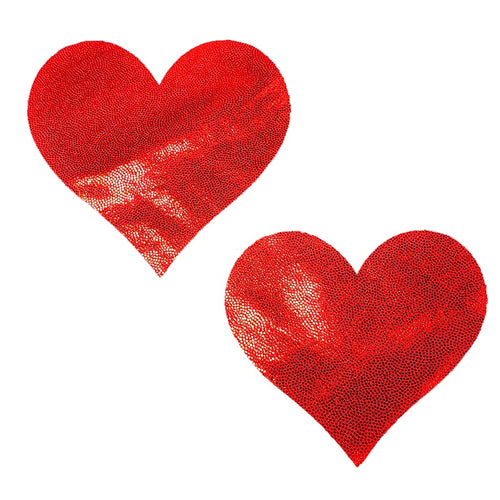 Heart Pasties Red Love Shimmer Massive  - XL