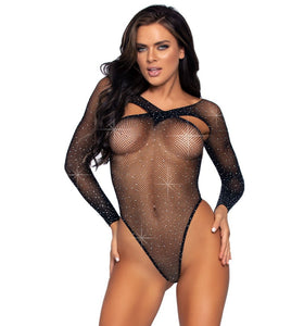 Black fishnet rhinestone bodysuit bodystocking with long sleeves, high cut hips, and a cross over top