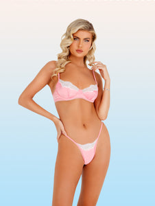 Soft Lace & Satin Underwire Bra Set