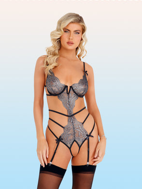 Strappy Metallic Silver Crotchless Teddy
