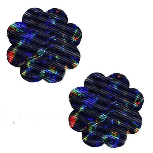 Holographic  Black Flower Pasties
