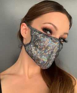 Dance Revolution Holographic Face Mask - Rave Mask Style