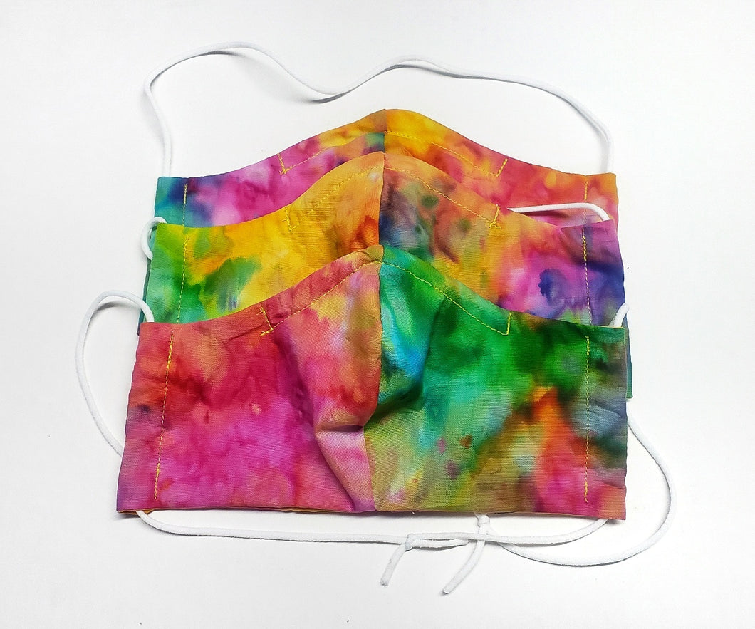 Sherbet Tie Dye Face Mask , Fitted Cotton, Wire Nose, Filter Pocket WITH FILTERS