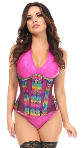 Rainbow Glitter PVC & Black Fishnet Steel Boned Under Bust  Corset