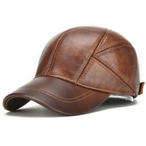 Collrown Christmas Gift Mens Winter Warm Genuine Leather Baseball Cap Earflap Ear Muffs Windproof Outdoor Trucker Hats