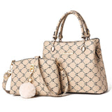 2-piece set women beading pendant handbag ladies embossed shoulder bag ladies Messenger bag hairball bags high quality bag