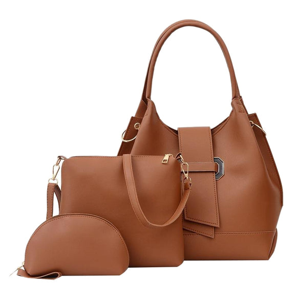 3 Piece Set PU Leather Women Handbag Large Capacity Ladies Shoulder Bucket Bag Fashion Women Handbag Brown