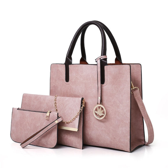 3PCS Women's Bag Set Fashion PU Leather Ladies Handbag Solid Color Messenger Bag Shoulder Bag Wallet Bags For Women 2020