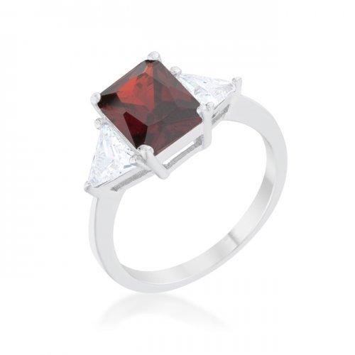 Classic Garnet Rhodium Engagement Ring (size: 09) (pack of 1 ea)