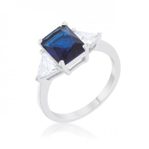 Classic Sapphire Rhodium Engagement Ring (size: 10) (pack of 1 ea)