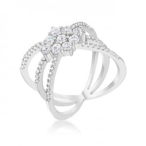 Mindy 0.8ct Cz Rhodium Delicate Triple Wrap Ring (size: 09) (pack of 1 ea)