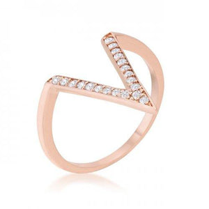 Michelle 0.2ct Cz Rose Gold Delicate V-shape Ring (size: 10) (pack of 1 ea)