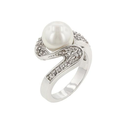 White Pearl Fashion Ring (size: 09) (pack of 1 ea)