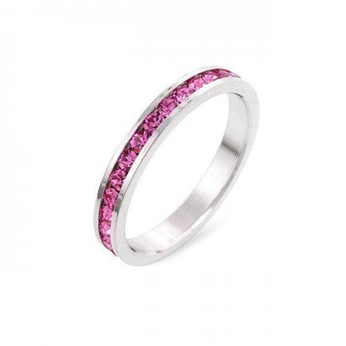 Stylish Stackables Pink Crystal Ring (size: 08) (pack of 1 ea)