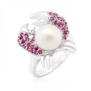 Pearl Crab Cubic Zirconia Ring (size: 07) (pack of 1 ea)