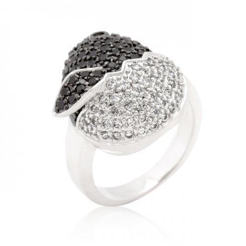Black And White Cubic Zirconia Baby Chick Ring (size: 06) (pack of 1 ea)
