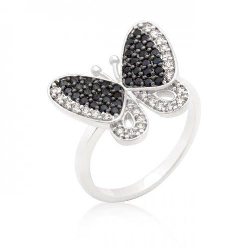 Black And White Cubic Zirconia Butterfly Ring (size: 09) (pack of 1 ea)