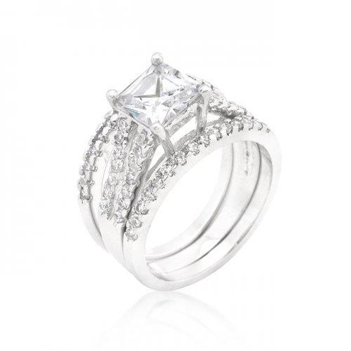 Princess Cut Cubic Zirconia Triple Bridal Set (size: 06) (pack of 1 ea)