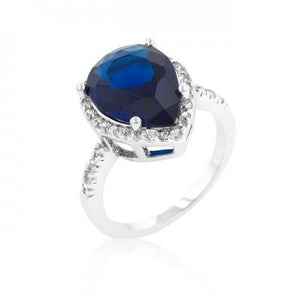 Sapphire Cubic Zirconia Drop Ring (size: 06) (pack of 1 ea)