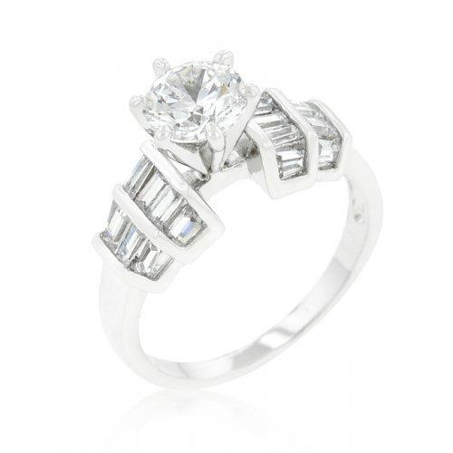 Tapered Baguette Cubic Zirconia Engagement Ring (size: 10) (pack of 1 ea)