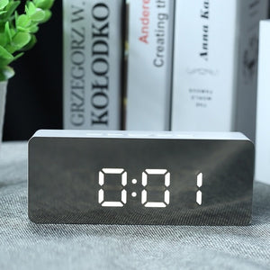 LED Mirror Alarm Clock Digital Snooze Table Clock Wake Up Light Electronic Large Time Temperature Display Home Decoration Clock - www-skylandmart-com