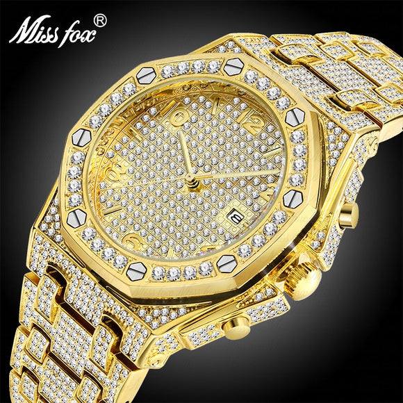 MISSFOX Best Selling 2019 Products Dropshipping 18k Gold Carbon Fiber Bezel Free Shiping Luxury Brand Mens Watches Gifts For Men - www-skylandmart-com