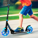 Portable Folding Sports Kick Scooter w/ LED Wheels-Blue