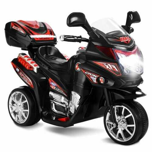 3 Wheel Kids 6V Battery Powered Electric Toy Motorcycle -Black - Color: Black
