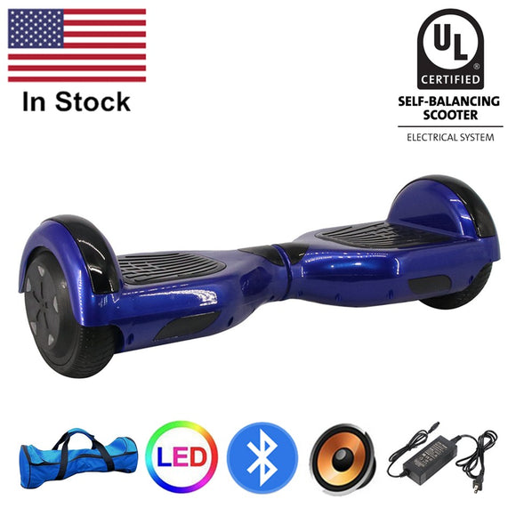 US Stock UL 2272 Bluetooth Hoverboard 6.5 Inch Two Wheels Blue Self Balance Board Electric Scooters Adults Hoverboards Overboard