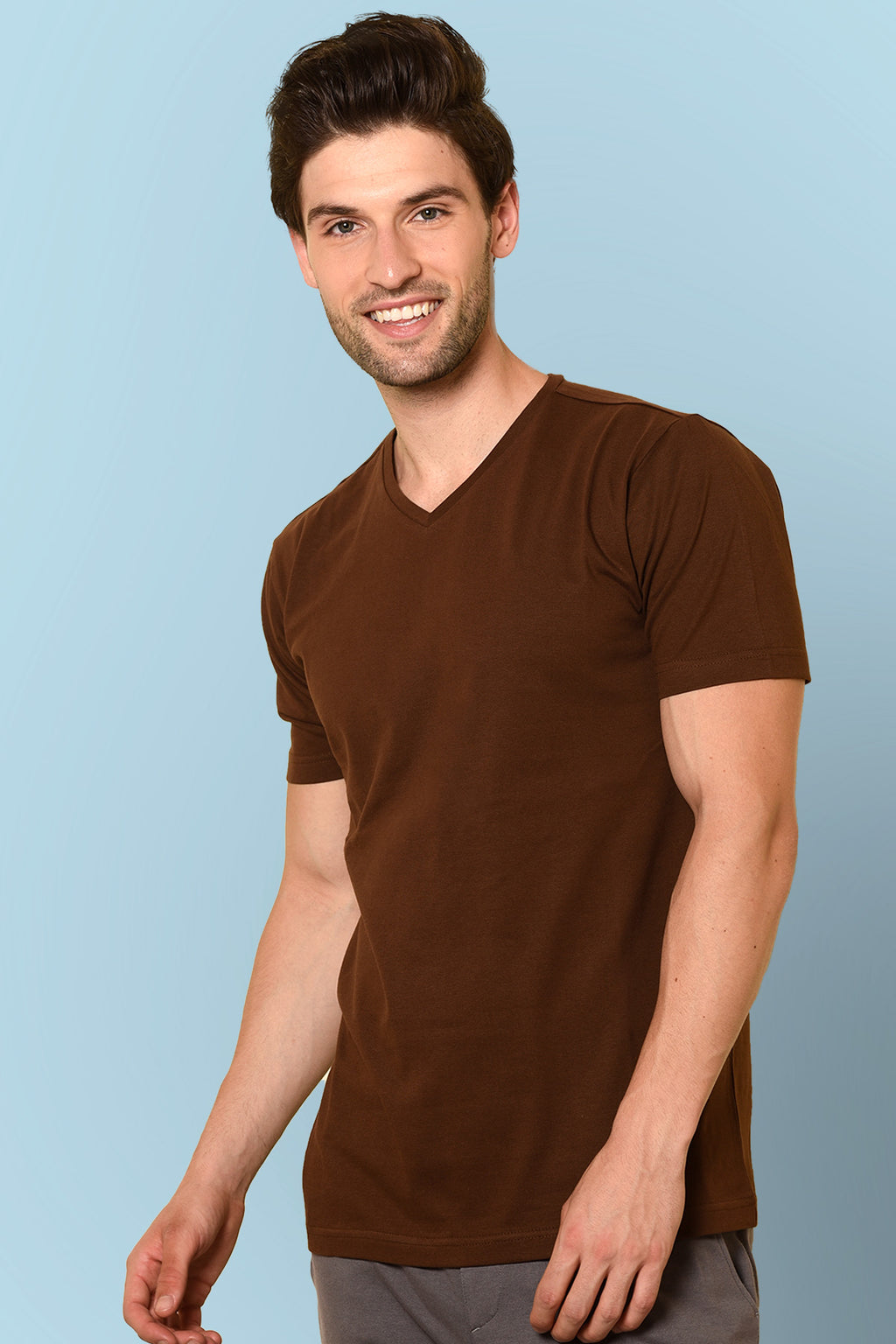 V-Neck Brown color T-shirt by Beyours