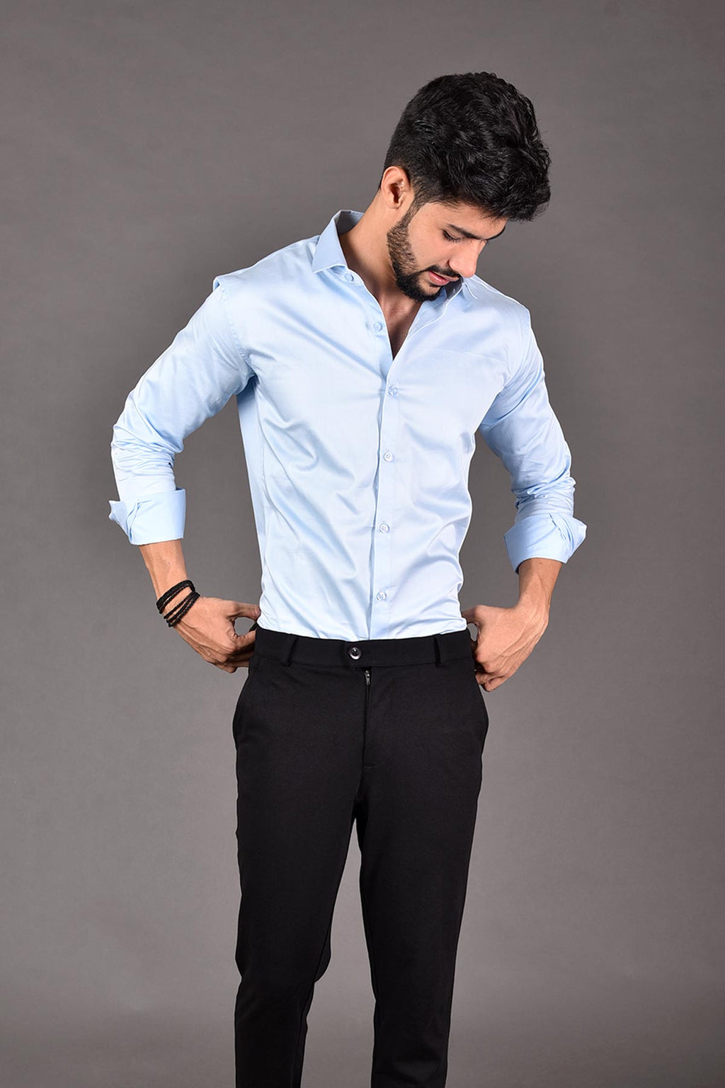 Light Blue Color party wear shirt | Beyours | Minimal clothing