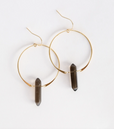 Load image into Gallery viewer, Smokey Quartz Hoop