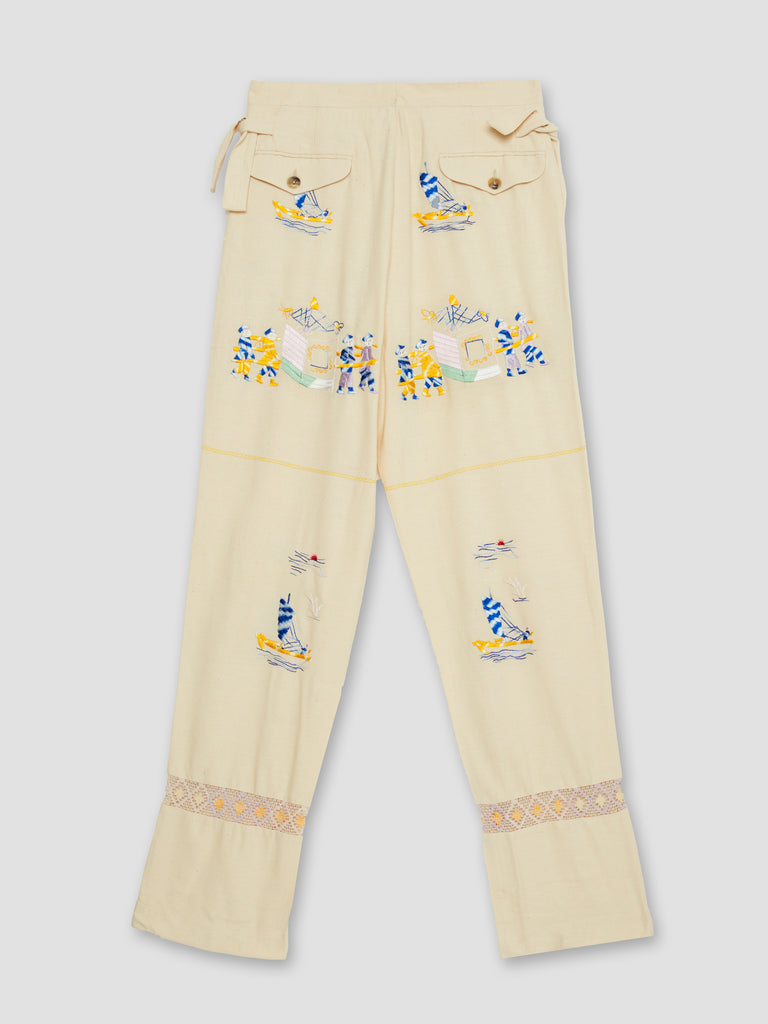 Bode Sailing Tableau Embroidered Silk Trousers Beige