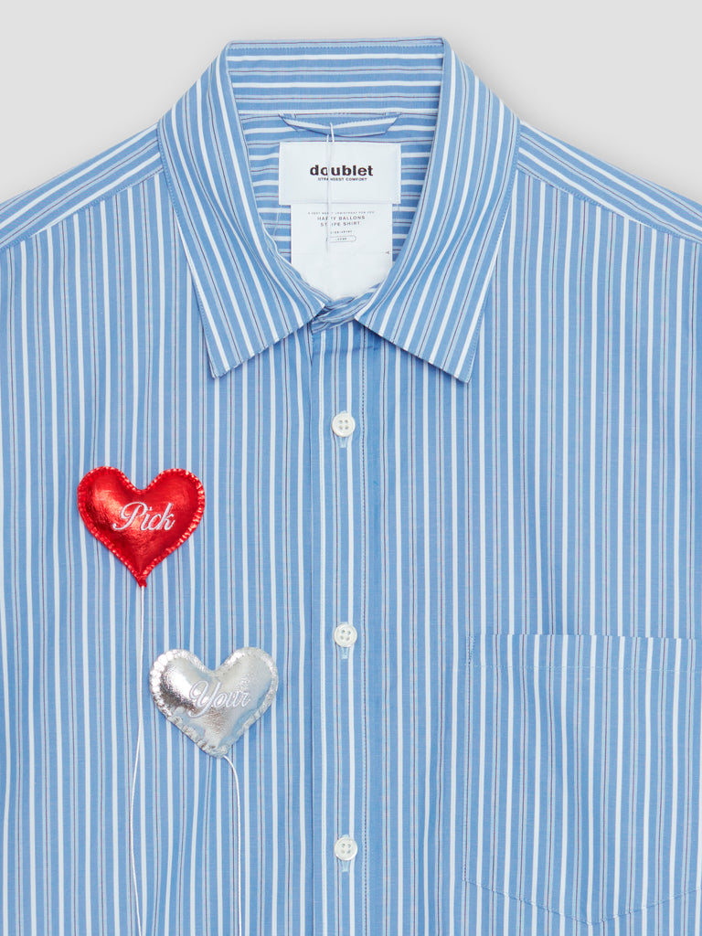 Doublet Happy Balloons Stripe Shirt Blue