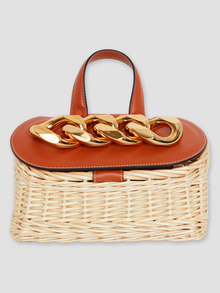 JW Anderson Small Chain Lid Basket Bag Tan