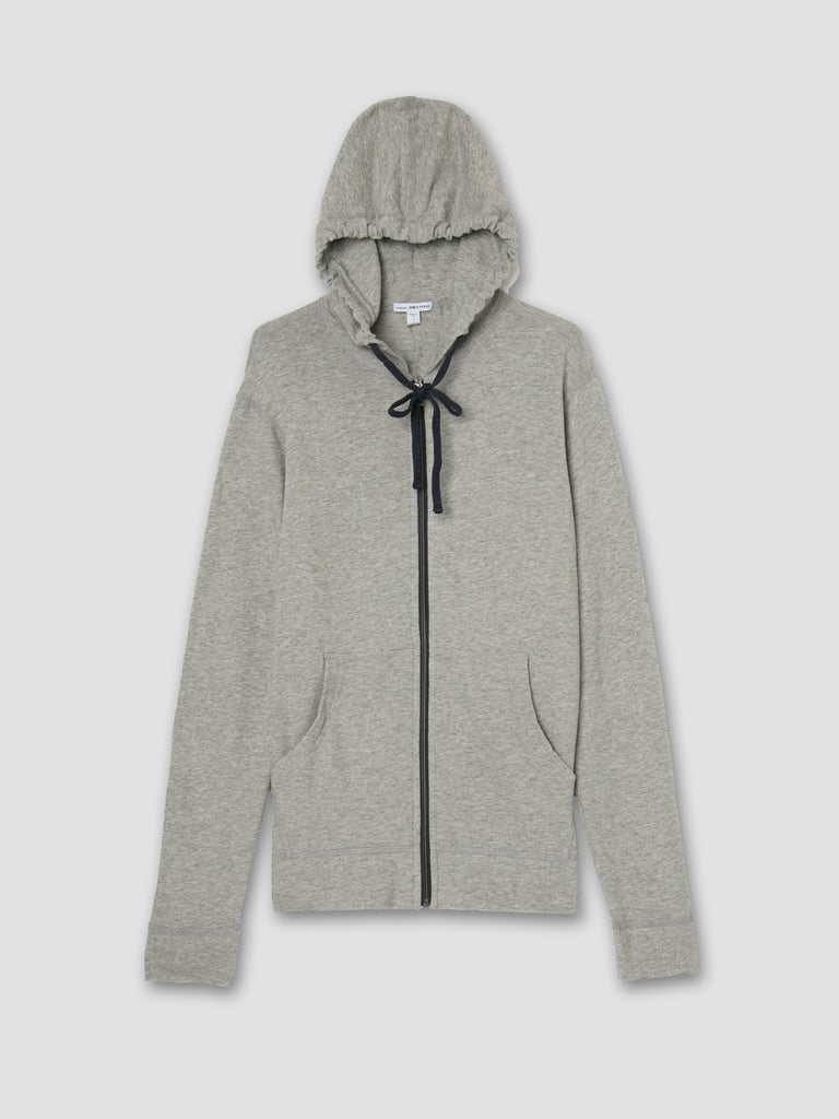 James Perse Zipped Vintage Cotton Hoodie Heather Grey
