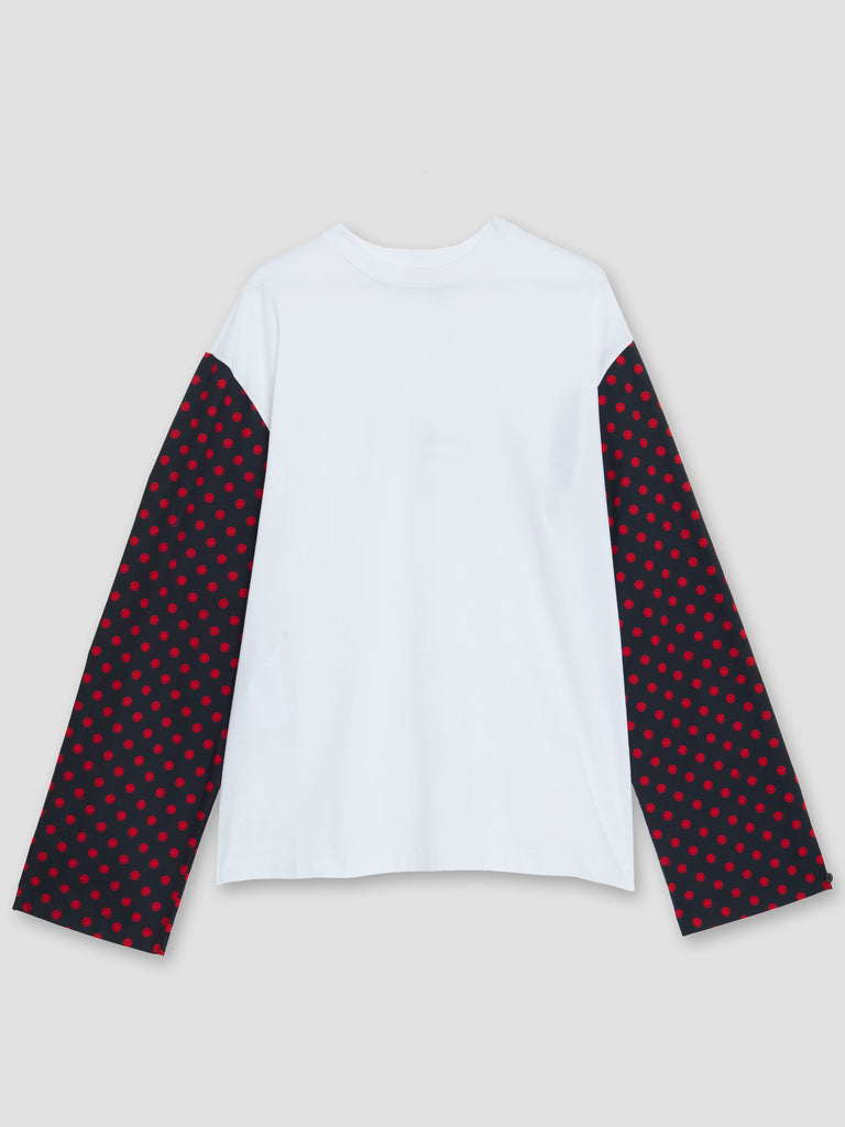 Marni White T-Shirt with Long Sleeves in Smiley Print