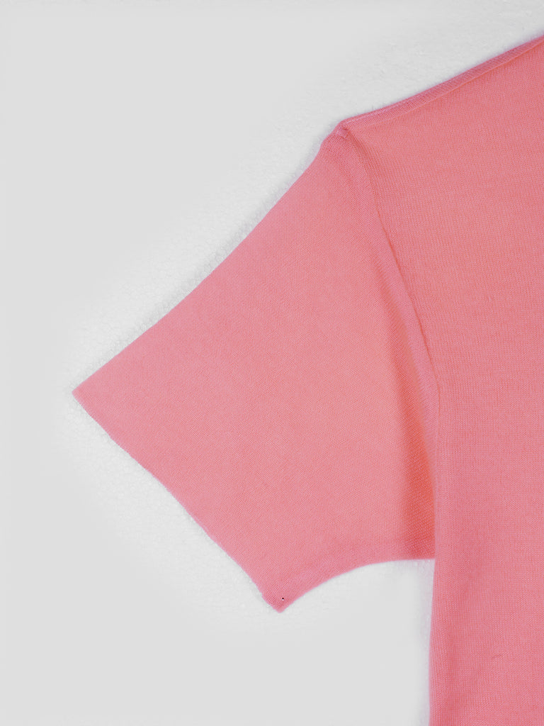 The Elder Statesman Tie Dyed Favorite Cashmere T-Shirt Neon Pink