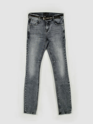Belted Skinny-Fit Faded Black Stretch Jeans