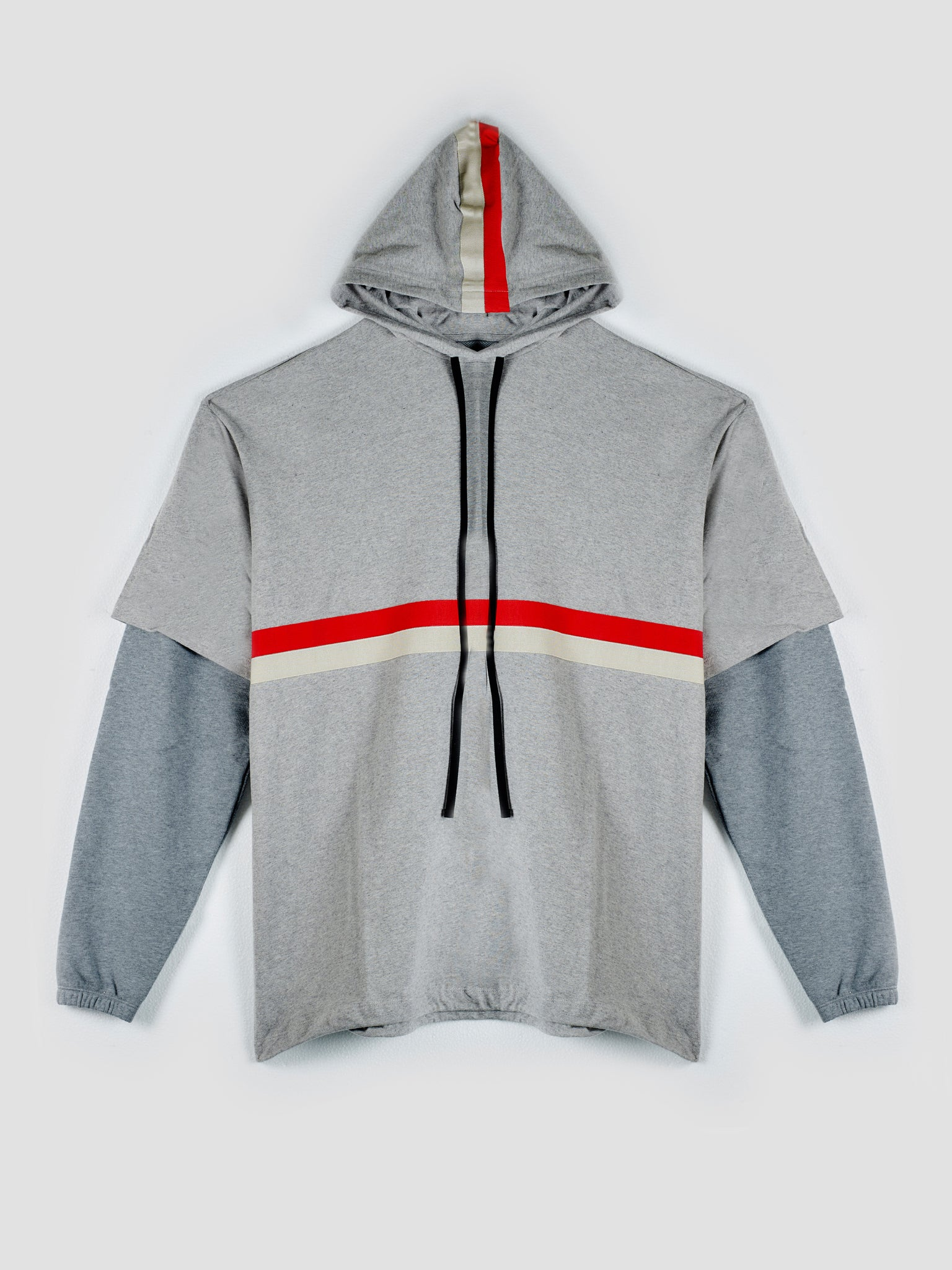 Drawstring Hoodie with Trompe de l`oeil Long Sleeve
