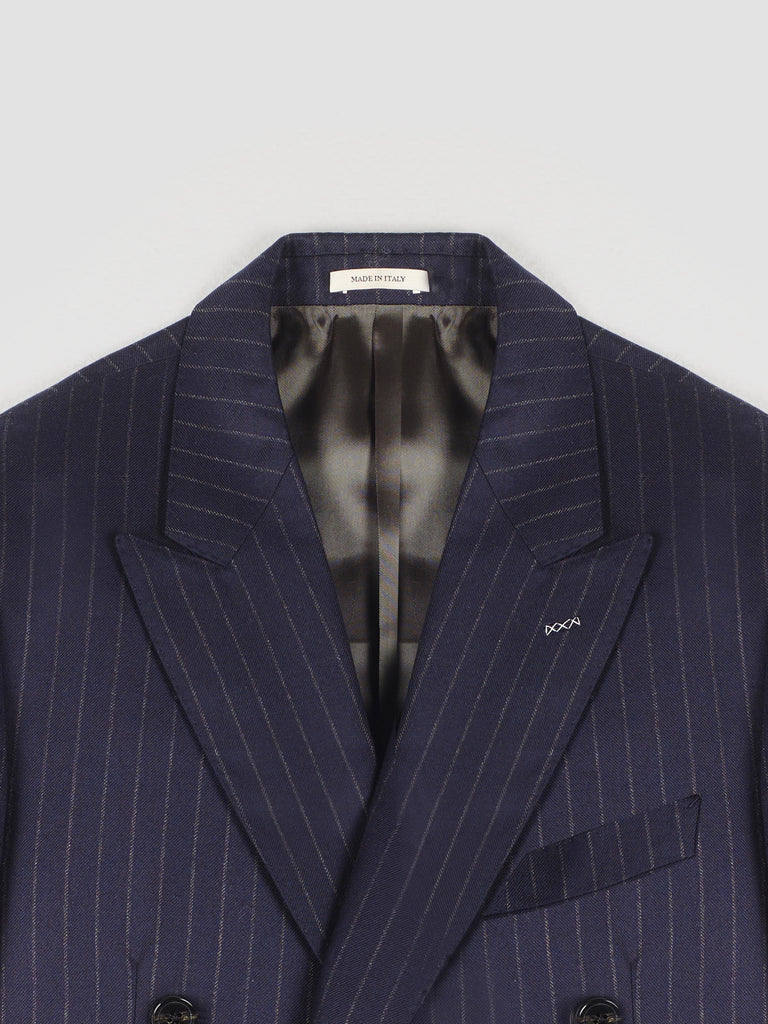 Husbands Navy Chalk-Stripe Double-Breasted Suit