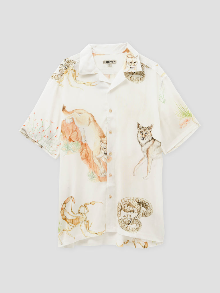 Phipps Danger in the Desert Printed Bowling Shirt White