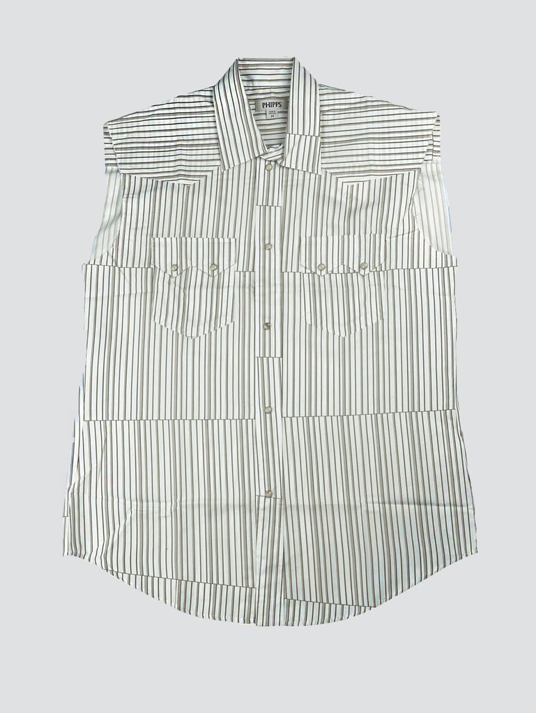 Phipps Sleeveless Rockhound Shirt Striped Brown