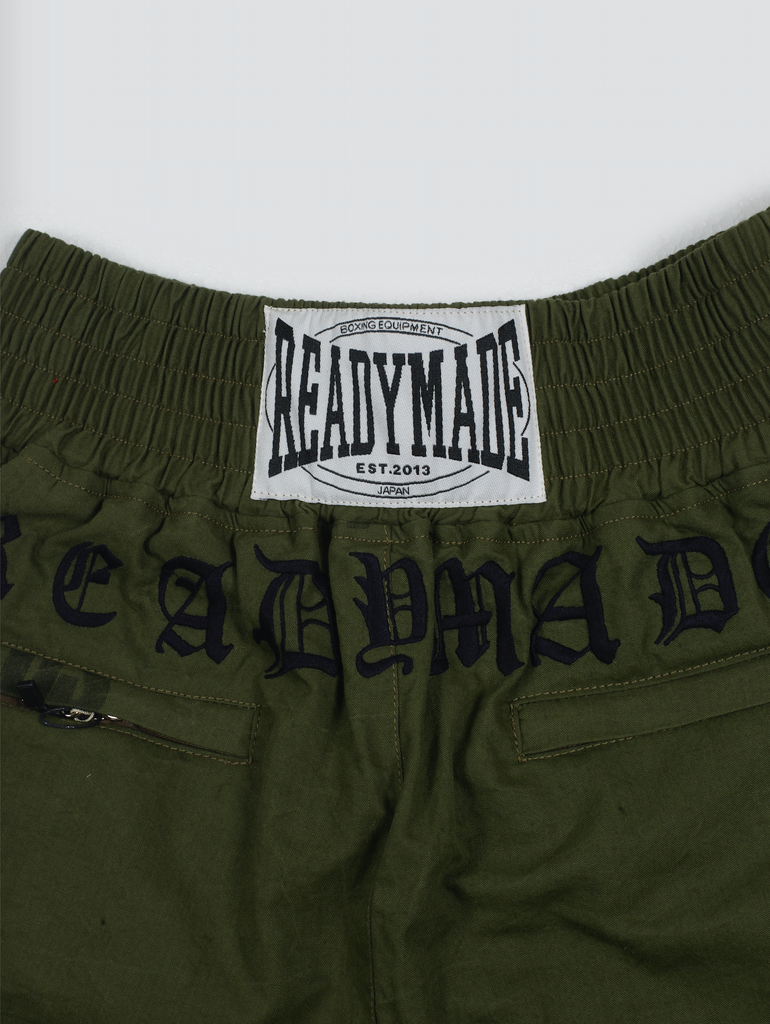 Readymade AW19 Embroidered Boxing Shorts Military Green