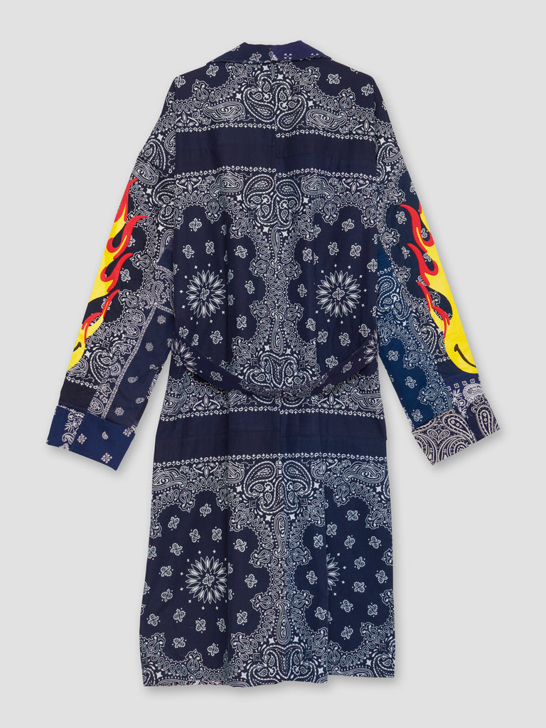 Readymade Navy Bandana Belted Morning Gown