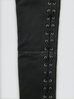 Garçons Infidèles AW19 Black Skinny Laced Leather Pants