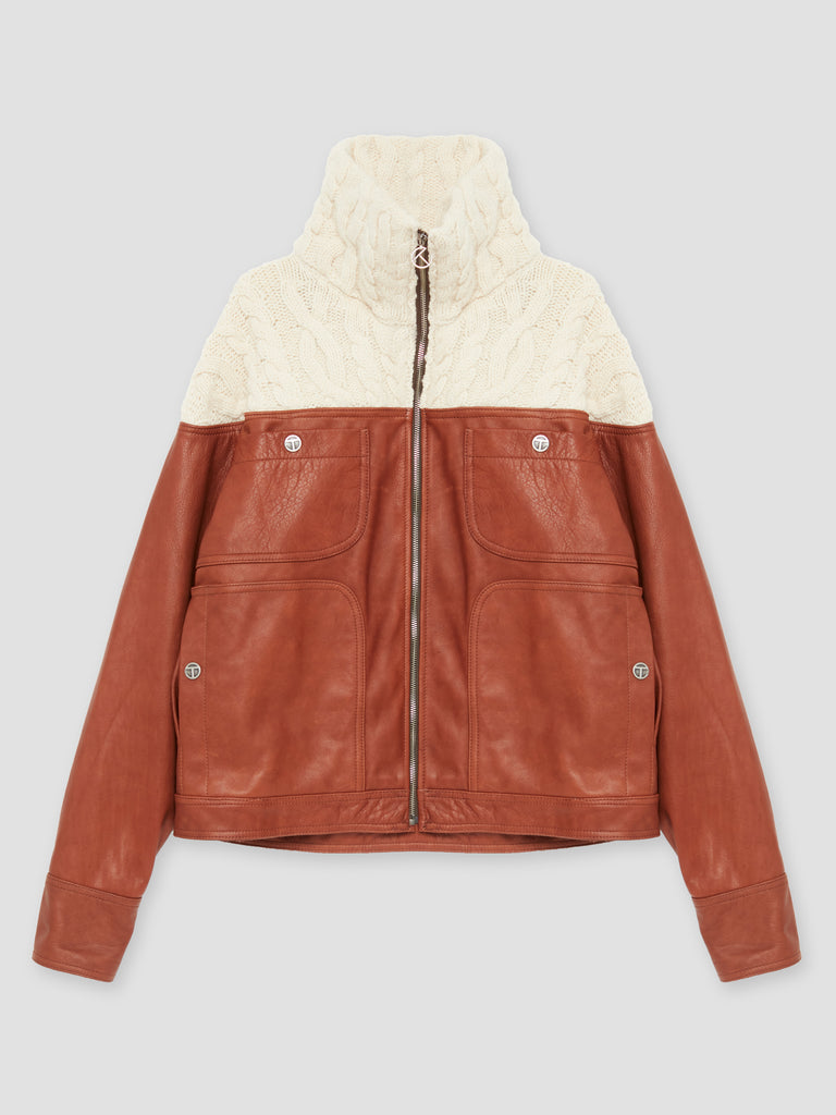 Telfar Knit High Collar Jacket Ecru / Brown